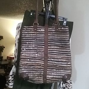 Leather and suede woven purse